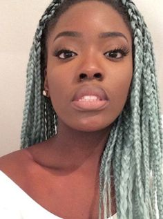 Lovely mint colored box braids. Want this color hair? click this link... http://www.aliexpress.com/item/1-Piece-Ombre-xpression-kanekalon-jumbo-braiding-hair-24-5pc100g-synthetic-two-tone-high-temperature/32362355656.html?spm=2114.031010208.3.1.ux2Kgh&ws_ab_test=201556_2,201527_2_71_72_73_74_75,201409_1&aff_platform=ae-aff-deeplink&sk=R3fq3VzFe:&cpt=1443751869594&aff_trace_key=b0fa936c10f04bdda6c59222aee082da-1443751869594-08170-R3fq3VzFe