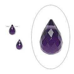 Bead, amethyst (natural), dark, 6x4mm hand-cut top-drilled briolette, B grade, Mohs hardness 7. Sold per pkg of 2.