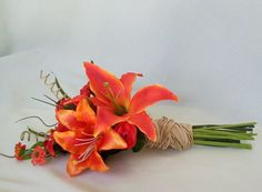 Orange Wedding Flowers artificial Tiger Lillies bouquets autumn fall bridal party acessories, groom boutonniere brides maid Made in Michigan. $49.95, via Etsy.
