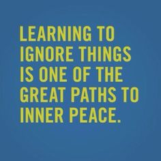 Learning to ignore things is one of the great paths to inner peace