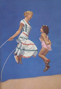 Mother and Daughter Jumping rope. Vintage ad