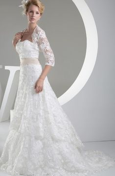 strapless line tiered lace wedding gown bolero open tiered lace bridal dress ellie fairytale wedding dress Wedding Gown Bolero, Drop Waist Wedding Dress, Wrap Wedding Dress, Modest Wedding Gowns, Colored Wedding Dresses, White Wedding Dresses, Bridal Dresses, Bridesmaid Dresses, Lace Weddings