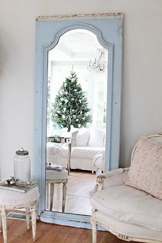 Floor-standing distressed mirror -- use old door, glue mirror and frame with thick moulding.