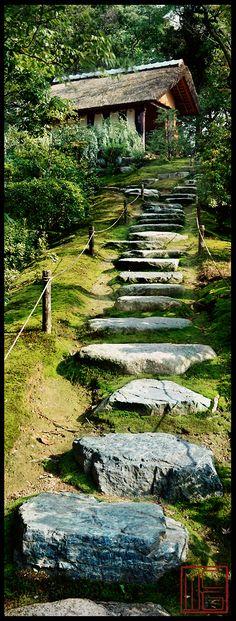 Katsura Rikyu. Escada de pedras. Tudo parece muito natural.