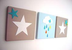 Tableau triptyque bébé étoiles et nuage bleu, blanc, taupe, cadeau de naissance : Décoration pour enfants par fees-et-rires
