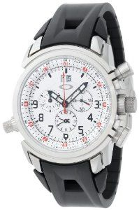 Oakley Men's 10-059 12 Gauge Chronograph Brushed White Watch Oakley. $1295.00. Swiss made, gold plated, 13-jewel quartz movement. Unobtainium rubber strap with clasp. Water-resistant to 100 Feet (30M). Locking screw-down crown at 3 o?clock and 8 o?clock positions. Internal rotating bezel can be used as a countdown timer, 2nd time zone, or tachymeter