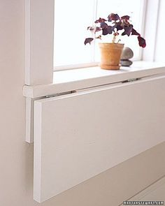 Extend a WindowsillSelect plywood the same thickness as sill; cut it as wide as sill and 12 inches deep. Attach bottom of shelf to bottom of sill with 3 hinges: 1 at the center, the others near the sides.Cut 2 right triangles from wood thin enough to lie flat beneath folded shelf; trim tips. Brackets should extend 3/4 of the way across shelf and 3/4 down apron. Hinge brackets to apron. Paint before installing.Convert a CabinetUse a square space, at least 14 by 14, deep enough to hol...