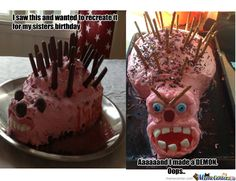 I tried to recreate that Hilarious hedgehog cake fail for my sisters birthday!  It ended up being a demon cake. OOPS! :O