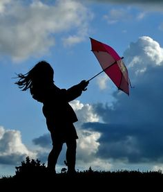 Silhouette of a girl holding a red umbrella … blue sky and clouds behind her … by *Koekiemonster on deviantART Photography Gallery, Dance Photography, Fine Art Photography, Photography Ideas, Umbrella Art, Under My Umbrella, Silhouette Photography, Silhouette Art, Blowin' In The Wind