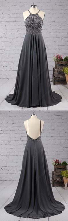 Grey Prom Dresses,Long Prom Dresses 2018,Modest Prom Dresses Chiffon, Scoop Neck A-line Prom Dresses with Beading
