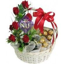 Basket of Roses and Ferrero Rochers