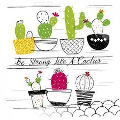 Sé fuerte como un cactus Vector Gratis