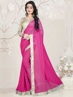 Pink Georgette Saree with Stone Work