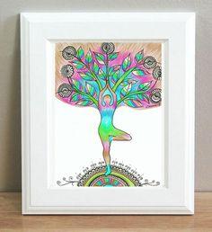 Tree Pose Vrikasana, Living room decor, Yoga Wall Decor PRINT, Yoga Silhouette Poster, Spiritual Energy Art Colorful drawing Boho wall decor by DHANAdesign on Etsy