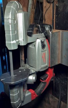 Picture of Nifty vertical table saw stand for you portable bandsaw that keeps your bandsaw portable!