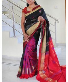 b63ca7bbcc178 Patli style pure silk saree in black and red . It comes with an unstitched  red · Indian ...