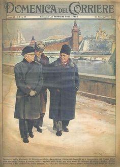 21st February 1960 - Soviet Prime Minister Nikita Khrushcev receives Italian President of Republic Giovanni Gronchi in Moscow. Cover by Walter Molino.
