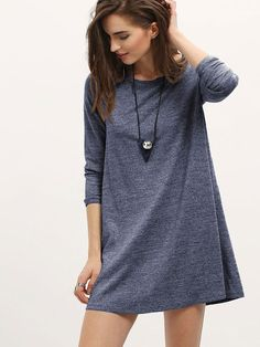4972de9dca1 Shop Marled Knit Mini T-shirt Dress online. SHEIN offers Marled Knit Mini T-shirt  Dress   more to fit your fashionable needs.