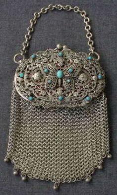 Antique Jeweled Filigree Erfly Metal Mesh Purse