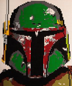 Lego mosaic Boba Fett by OxfordBrickArt on Etsy