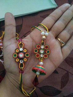 101 Rakhi Designs for Sister on Raksha Bandhan 7 August 2017 – Video Paper Quilling Earrings, 3d Quilling, Quilling Designs, Thread Jewellery, Fabric Jewelry, Clay Jewelry, Quilling Rakhi, Raksha Bandhan Cards, Handmade Rakhi Designs