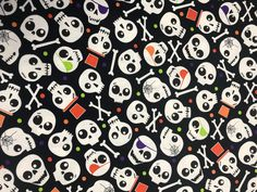 Halloween Fabric, Skull Fabric, Faboolous Fun, Spooky Skulls Black, Glow in the Dark Halloween Fabric, Skulls and Bones, by Kanvas, 8980 by AnnikasArts on Etsy Halloween Fabric, Halloween Fun, Craft Fair Table, Cut Out Letters, Skull Fabric, How To Make Banners, Halloween Coloring, Order Up, Skull And Bones