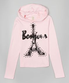 Look at this Gi Gi Girl Pink 'Bonjour' Lace Eiffel Tower Hoodie - Girls on today! Hoodies, Sweatshirts, Paris Fashion, Pink Girl, Girls, Graphic Sweatshirt, Tower, Lace, Sweaters