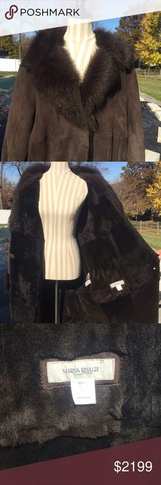Marina Rinaldi Shearling coat...Size 27 ( Gorgeous Shearling coat by Marina Rinaldi...this beautiful coat was made in Spain and is a Size 27 (Size 18 or 1X). This coat is in excellent condition and was only worn a couple of times...from a smoke free home! Marina Rinaldi Jackets & Coats
