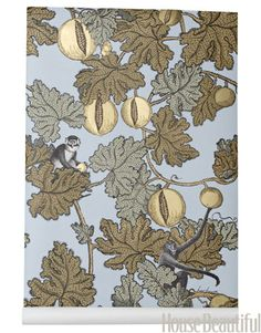 monkey wallpaper Frutto Probito, love these tones, the gold one was in our WC for years, this one may feature in our new bedroom.  Cole & Sons Wallpaper