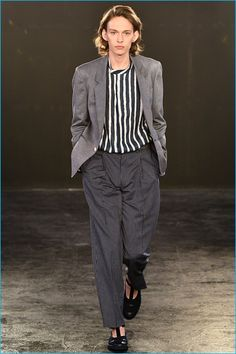 E. Tautz embraces relaxed suiting for spring-summer 2017, having a stripe moment.