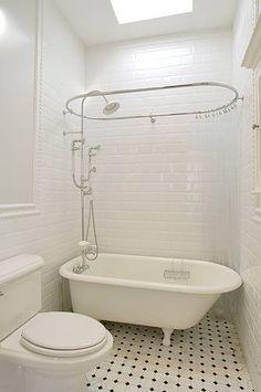Suzie: XLart Group - Vintage bathroom design with glossy white beveled subway tiles backsplash, . Tub Shower Combo, Shower Tub, Shower Heads, Bad Inspiration, Bathroom Inspiration, White Beveled Subway Tile, Subway Tiles, Clawfoot Tub Bathroom, Bathroom Grey