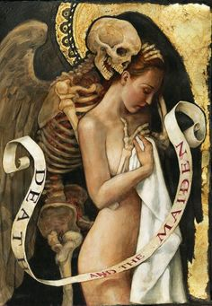 """""""Death and the Maiden."""" By artist P.J. Lynch. """"Beautiful how it calls back to renaissance artwork. Also the way that it looks as though Death is whispering in the Maidens ear, makes me wonder what he has to say.""""~Sethaka. For more information on the artist, go to his website at :http://pjlynchgallery.blogspot.com."""