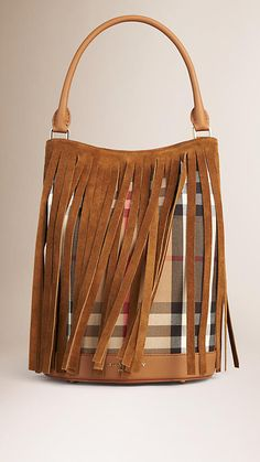 Dark sand The Bucket Bag in House Check and Suede Fringing - Image 1