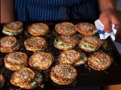 Parmesan pancakes with rocket salad and quark