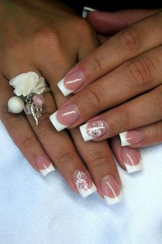French manucure design with flower design #French #manicure~