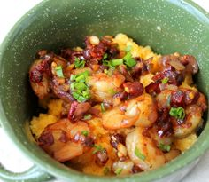 Cheddar Polenta with Sun-dried Tomatoes | A gourmet meal on a weeknight with shrimp & sun-dried tomatoes on a bed of cheesy cheddar polenta. #shrimp #easy #dinner