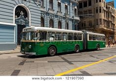 Valparaiso Chile - December 3 2012: the Historic trolley bus in the UNESCO world heritage city of Valparaiso in Chile. The trolley buses are designated as a National Monument in Chile and have been operating in the city since 1952.