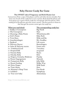 Baby Shower Candy Bar Game Master List - Events To Celebrate