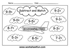 1st Grade Math Worksheets | Basic Subtraction Facts Worksheets - 4 Worksheets