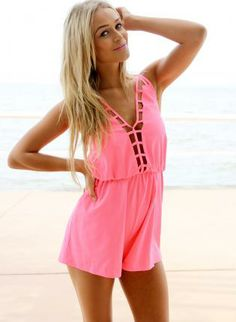 Neon Pink Playsuit with Cutout Cage Neckline,  Other, open back  romper  cutout, Chic