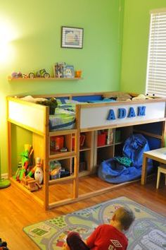 Ikea bed, the one that flips from a low toddler bed to a bunk bed.idea to use under bunk bed.do fort instead. Cozy Small Bedrooms, Big Boy Bedrooms, Girls Bedroom, Small Rooms, Small Spaces, Bedroom Small, Bedroom Decor, Low Toddler Bed, Toddler Rooms