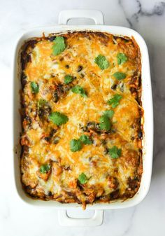 Chicken Enchilada Casserole – In the Kitchen Green Enchilada Sauce, Chicken Enchilada Casserole, Chicken Enchiladas, Homemade Tacos, Homemade Taco Seasoning, Cooking Chicken To Shred, How To Cook Chicken, Casserole Dishes, Casserole Recipes