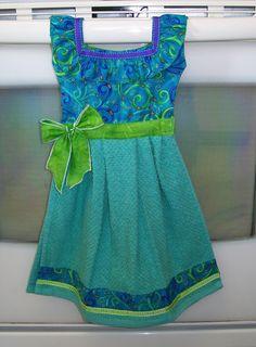 Fantasy Dish Towel Dress in Green Purple & by WoopsaDaisies