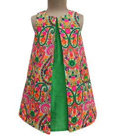 Take a look at this A.T.U.N. Lucknow Mosaic Parrot Green Swing Dress - Infant, Toddler & Girls today!
