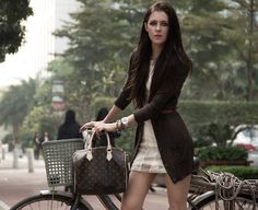 Mango Cardigan, Topshop Dress, Guess? Watch, Louis Vuitton Bag