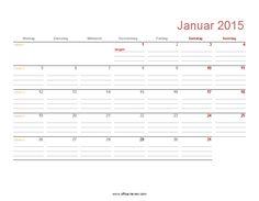 Monatskalender 2015 (mit Feiertagen und KW)