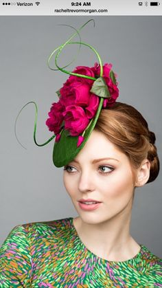 - Green fine straw mini disc with pink silk roses and quills - Fascinator Millinery Hats, Fascinator Hats, Fascinators, Headpieces, Green Fascinator, Rachel Trevor Morgan, Chambray, Idda Van Munster, Occasion Hats