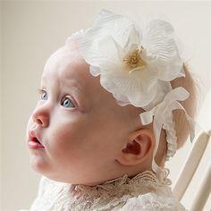 Baby Girl Antique Rose Headband - Charlotte Christening & Baptism Collection