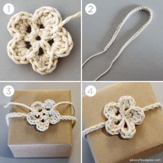 fyeahfreecrochet:  Crochet Gift Tie - no instructions but this looks easy and cute to make.