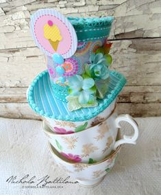 A Mad Hatters Tea Party!  Come to the Petaloo Blog to get a FREE TEMPLATE to make your own hats!!  Plus see how Nichola mixes Petaloo Botanica flowers, Fancy Trims and more with Doodlebug paper to create this bright and fun party!